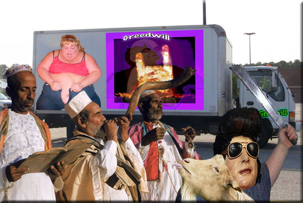 Fat Elvis impersonator takes part in solemn ceremony...